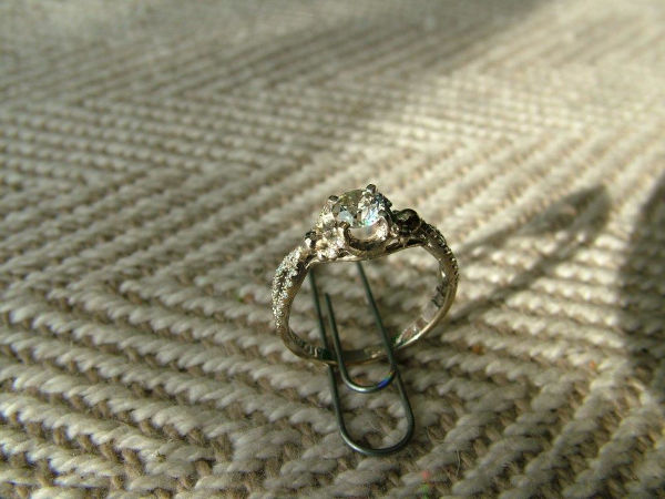 white gold damaged diamond ring repaired after